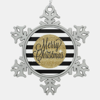 Merry Christmas Stripes & Gold Ornament