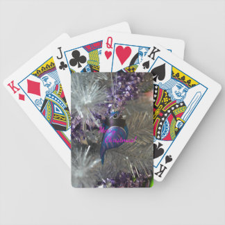 Merry Christmas Stunning Blue Bird Decoration Bicycle Playing Cards