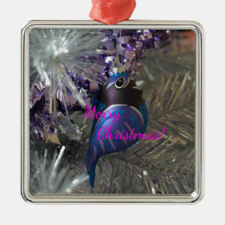 Merry Christmas Stunning Blue Bird Decoration Silver-Colored Square Decoration