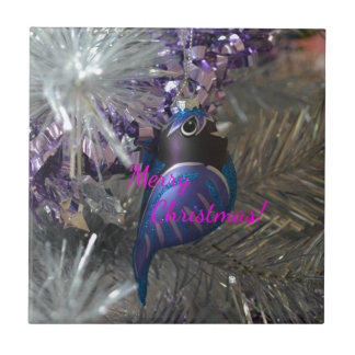 Merry Christmas Stunning Blue Bird Decoration Small Square Tile
