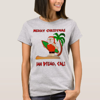 Merry Christmas Surfing Santa San Diego Cali T-Shirt