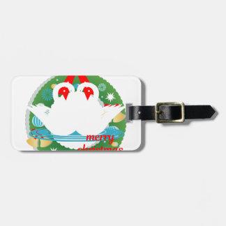 merry christmas swans luggage tag
