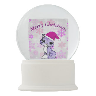 Merry Christmas Sweet Kitten Snow Globe