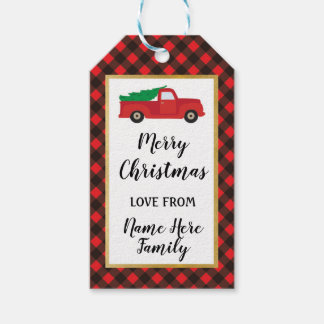 Merry Christmas Tags Holidays Truck Red Plaid Gold