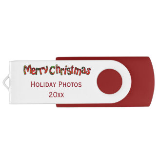 """Merry Christmas"" Tartan Typography - Personalize USB Flash Drive"