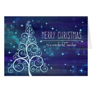 Merry Christmas Teacher, Bokeh Effect & Tree Card
