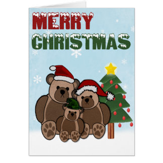 Merry Christmas Teddy Bear Family Greeting Cards