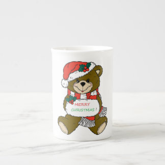 """ MERRY CHRISTMAS "" TEDDY BEAR TEA CUP"