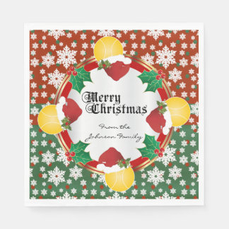 Merry Christmas Tennis Lovers Disposable Napkins