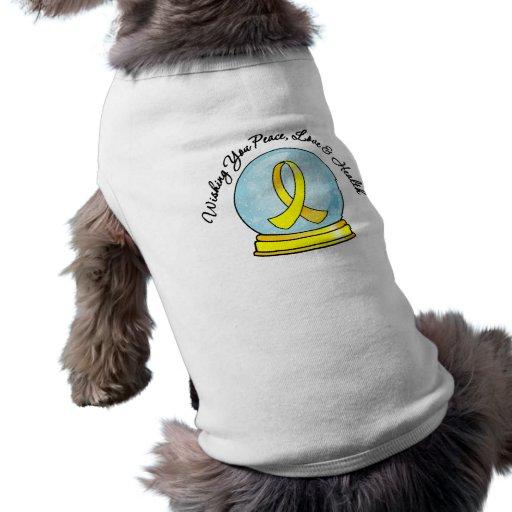 Merry Christmas Testicular Cancer Snowglobe Doggie Tee Shirt