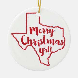 Merry Christmas Texas State Tree Ornament