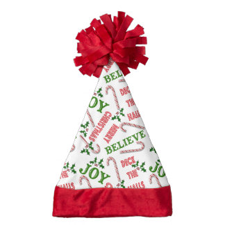 Merry Christmas Text Collage Candy Canes Santa Hat