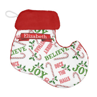 Merry Christmas Text Collage Candy Canes Elf Christmas Stocking
