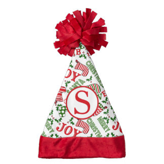 Merry Christmas Text Collage Stockings Santa Hat