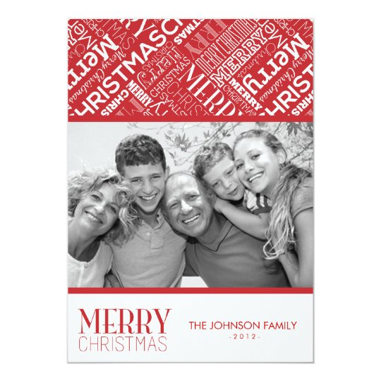 Merry Christmas Text Design 5x7 Flat Card