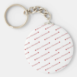 Merry Christmas Text in Red Key Chains