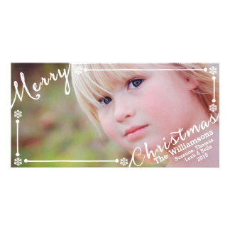 Merry Christmas text overlay Snowflakes & 1 photo Customised Photo Card