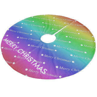 merry christmas,text,rainbow fleece tree skirt
