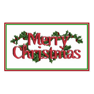 Merry Christmas Text - Snowy Holly Pack Of Standard Business Cards