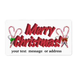 Merry Christmas Text with Candy Canes