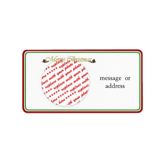 Merry Christmas Text with Pine cones Address Label