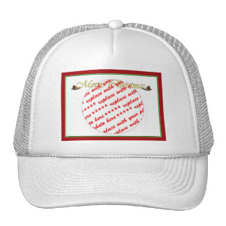 Merry Christmas Text with Pine cones Cap