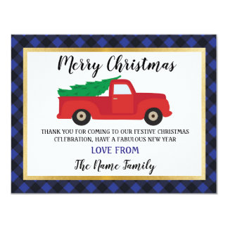 Merry Christmas Thank you Cards Holidays Red Truck