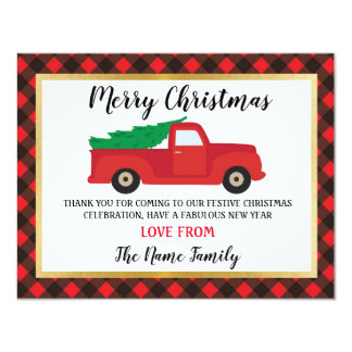 Merry Christmas Thank you Cards Holidays Truck Red