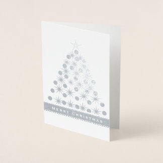Merry Christmas Three with stars and bulbs Foil Card