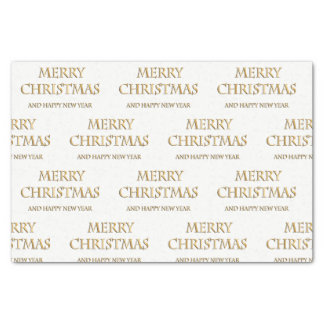 Merry Christmas Tissue Paper in Gold & White
