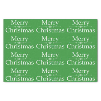 Merry Christmas Tissue Paper in Green & White