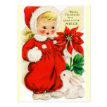 Merry Christmas to a Dear Little Niece Vintage Postcard