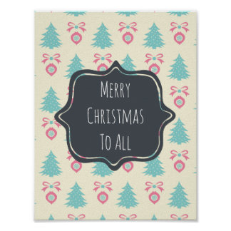 Merry Christmas To All Christmas Pattern Poster
