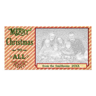Merry Christmas to All Red Striped Photo Cards