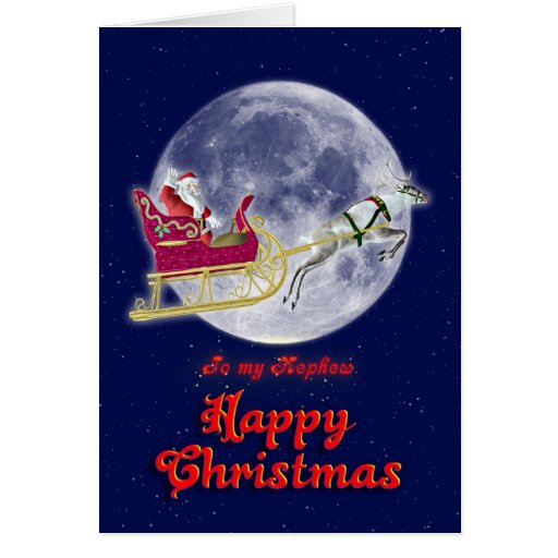 Merry Christmas to nephew with santa in his sleigh Greeting Cards
