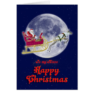 Merry Christmas to niece with santa in his sleigh Card