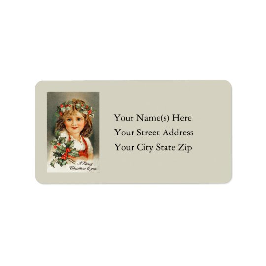 Merry Christmas To You Vintage Address Label
