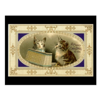 Merry Christmas To You Vintage Cats Postcard Black