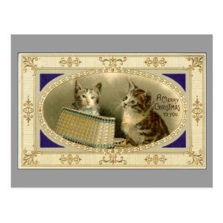 Merry Christmas To You Vintage Cats Postcard Grey