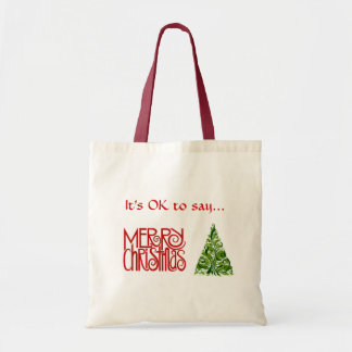 """""""Merry Christmas"""" Tote with Tree design Tote Bag"""