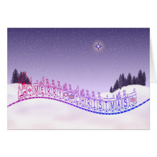 Merry Christmas Toy Train star trees and snow Card