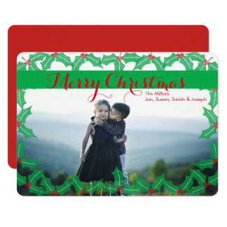 Merry Christmas Traditional Holly Photo Card