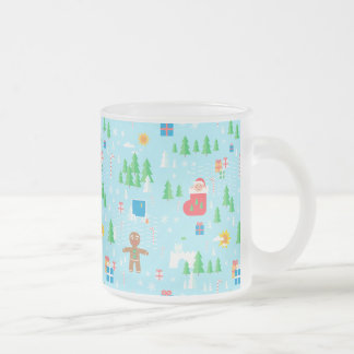Merry Christmas transparent mug. Frosted Glass Coffee Mug