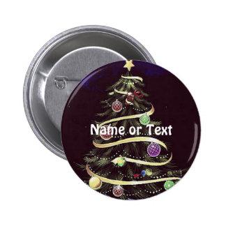 Merry Christmas, tree 6 Cm Round Badge