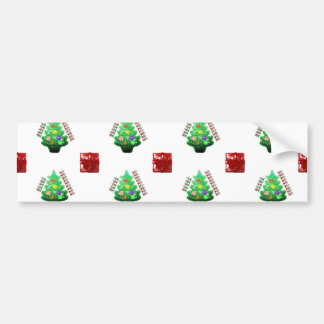 Merry Christmas Tree and Gift Bumper Sticker