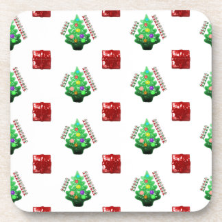 Merry Christmas Tree and Gift Beverage Coaster