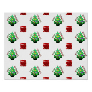 Merry Christmas Tree and Gift Poster