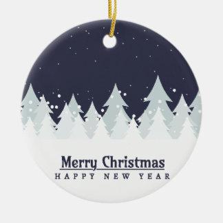 Merry Christmas Tree Blue Round Ceramic Decoration