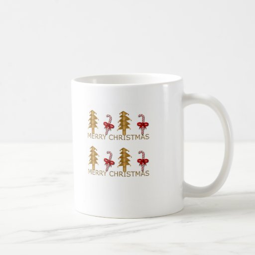 Merry Christmas Tree Candy red gold Coffee Mugs
