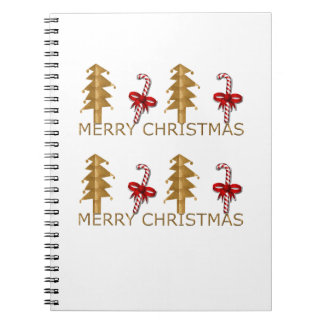Merry Christmas Tree Candy red gold Journal